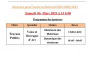 Concours doctorat LMD 2021 -programme des épreuves-