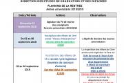 PLANNING DE LA RENTRÉE  Année universitaire 2018/2019